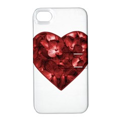 Floral Heart Shape Ornament Apple iPhone 4/4S Hardshell Case with Stand