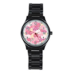 Peonies Flower Floral Roes Pink Flowering Stainless Steel Round Watch