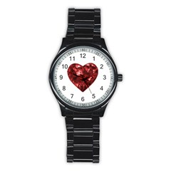 Floral Heart Shape Ornament Stainless Steel Round Watch
