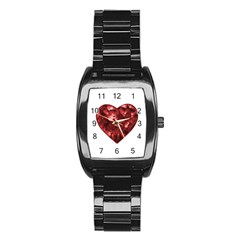Floral Heart Shape Ornament Stainless Steel Barrel Watch