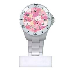 Peonies Flower Floral Roes Pink Flowering Plastic Nurses Watch