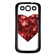 Floral Heart Shape Ornament Samsung Galaxy S3 Back Case (Black)