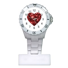 Floral Heart Shape Ornament Plastic Nurses Watch