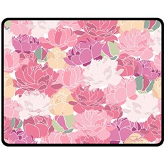 Peonies Flower Floral Roes Pink Flowering Double Sided Fleece Blanket (Medium)