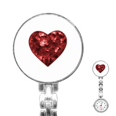 Floral Heart Shape Ornament Stainless Steel Nurses Watch