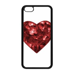 Floral Heart Shape Ornament Apple iPhone 5C Seamless Case (Black)