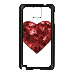 Floral Heart Shape Ornament Samsung Galaxy Note 3 N9005 Case (Black)
