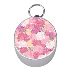 Peonies Flower Floral Roes Pink Flowering Mini Silver Compasses