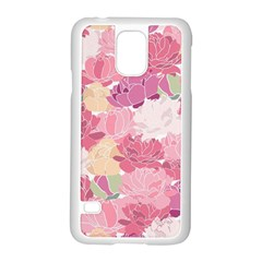 Peonies Flower Floral Roes Pink Flowering Samsung Galaxy S5 Case (White)