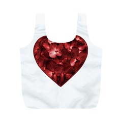 Floral Heart Shape Ornament Full Print Recycle Bags (M)