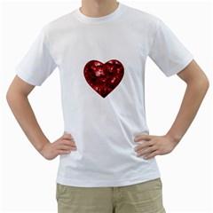Floral Heart Shape Ornament Men s T-Shirt (White)