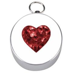 Floral Heart Shape Ornament Silver Compasses