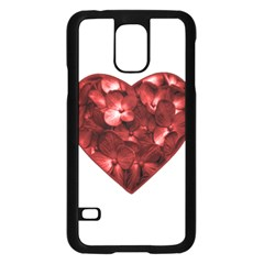 Floral Heart Shape Ornament Samsung Galaxy S5 Case (Black)