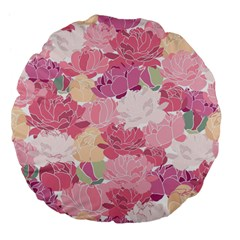 Peonies Flower Floral Roes Pink Flowering Large 18  Premium Flano Round Cushions