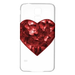 Floral Heart Shape Ornament Samsung Galaxy S5 Back Case (White)