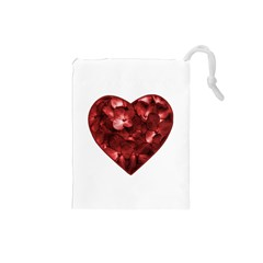 Floral Heart Shape Ornament Drawstring Pouches (Small)