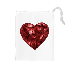 Floral Heart Shape Ornament Drawstring Pouches (Large)