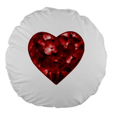 Floral Heart Shape Ornament Large 18  Premium Flano Round Cushions
