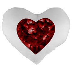 Floral Heart Shape Ornament Large 19  Premium Flano Heart Shape Cushions