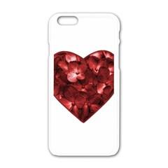 Floral Heart Shape Ornament Apple iPhone 6/6S White Enamel Case