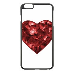Floral Heart Shape Ornament Apple iPhone 6 Plus/6S Plus Black Enamel Case