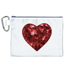 Floral Heart Shape Ornament Canvas Cosmetic Bag (XL)