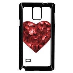 Floral Heart Shape Ornament Samsung Galaxy Note 4 Case (Black)