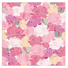 Peonies Flower Floral Roes Pink Flowering Large Satin Scarf (Square)