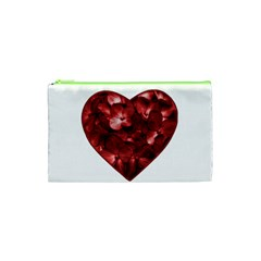 Floral Heart Shape Ornament Cosmetic Bag (XS)