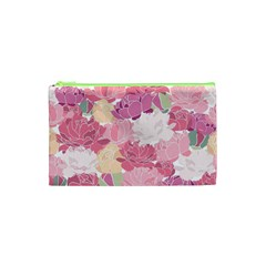Peonies Flower Floral Roes Pink Flowering Cosmetic Bag (XS)