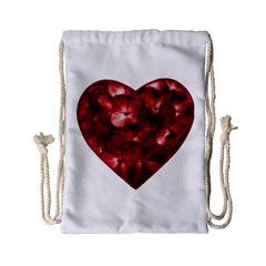 Floral Heart Shape Ornament Drawstring Bag (Small)