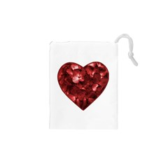 Floral Heart Shape Ornament Drawstring Pouches (XS)