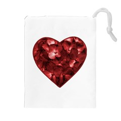 Floral Heart Shape Ornament Drawstring Pouches (Extra Large)