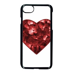 Floral Heart Shape Ornament Apple iPhone 7 Seamless Case (Black)