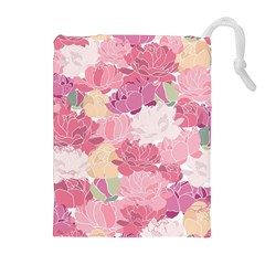 Peonies Flower Floral Roes Pink Flowering Drawstring Pouches (Extra Large)
