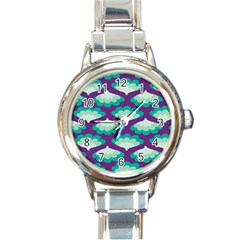Purple Flower Fan Round Italian Charm Watch