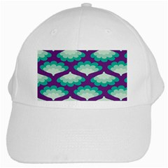 Purple Flower Fan White Cap