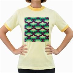 Purple Flower Fan Women s Fitted Ringer T Shirts