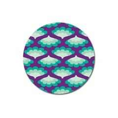 Purple Flower Fan Magnet 3  (Round)