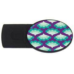 Purple Flower Fan USB Flash Drive Oval (1 GB)