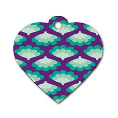 Purple Flower Fan Dog Tag Heart (One Side)