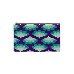 Purple Flower Fan Cosmetic Bag (Small)