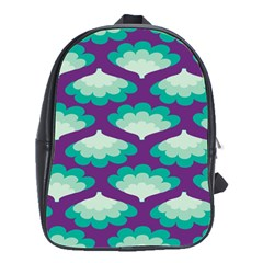 Purple Flower Fan School Bags(Large)