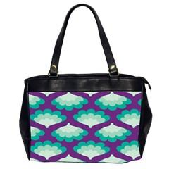 Purple Flower Fan Office Handbags (2 Sides)