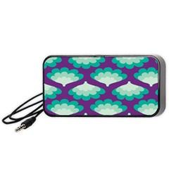 Purple Flower Fan Portable Speaker (Black)
