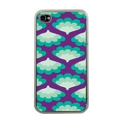 Purple Flower Fan Apple iPhone 4 Case (Clear)