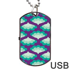 Purple Flower Fan Dog Tag USB Flash (Two Sides)