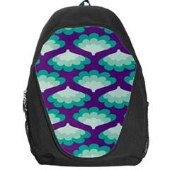 Purple Flower Fan Backpack Bag