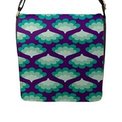 Purple Flower Fan Flap Messenger Bag (L)