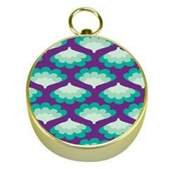 Purple Flower Fan Gold Compasses